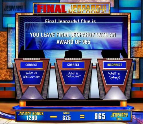 Jeopardy Review Slots If you make the correct selection your winnings are increased. however, should you make an incorrect selection you wager will be deducted from you total bonus winnings