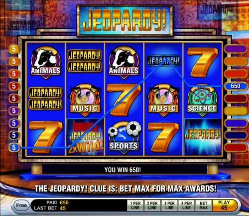 Jeopardy Review Slots A 650 coin big win triggered by three of a kind and a 2x wild