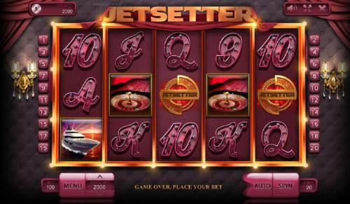 Jetsetter Review Slots Main game board based on a life of luxury theme, featuring five reels and 20 paylines with a $100,000 max payout