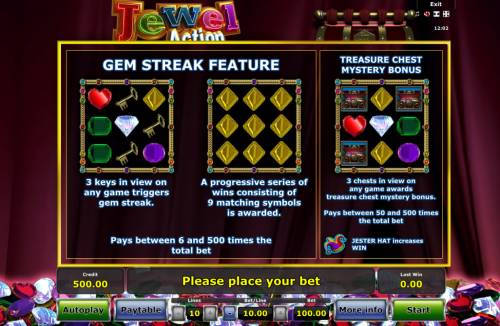Jewel Action Review Slots Feature Rules