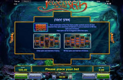 Jewels of the Sea Review Slots Free Spins - Each combination of five Free Spins scatter symbols across all reels awards 8 free spins and bonus of total bet x1 up to maximum of 96 free spins and x12 bonus. Free spins can be re-triggered within free spins.