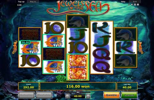 Jewels of the Sea Review Slots A pair of x2 wild multipliers combines to trigger a big win.