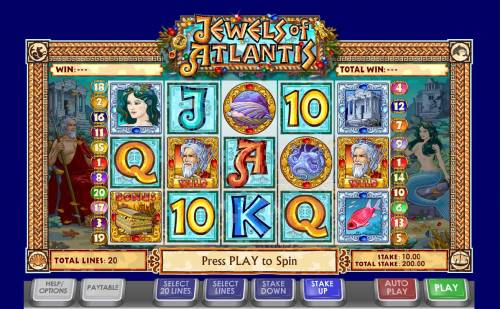 Jewels of Atlantis Review Slots Main game board featuring five reels and 20 paylines with a $50,000 max payout