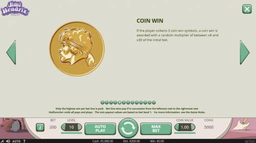 Jimi Hendrix Review Slots Coin Win - If the playercollects 3 coin win symbols, a coin win is awarded with a random multiplier of between x8 and x30 of the initial bet.