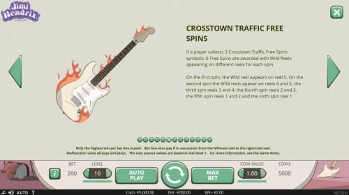 Jimi Hendrix Review Slots Crosstown Traffic Free Spins - If player collects 3 Crosstown Traffic Free Spins symbols, 6 free spins are awarded with wild reels appearing on different reels for each spin.