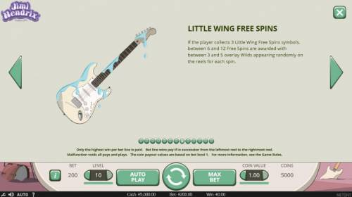Jimi Hendrix Review Slots If a player collects 3 Little Wing Free Spins symbols, between 6 and 12 free spins are awarded with between 3 and 5 overlay wilds appearing randomly on the reels for each spin.