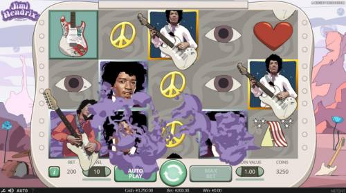 Jimi Hendrix Review Slots Purple Haze feature triggered board symbols 10, J, Q, K, and A are changed into wilds.