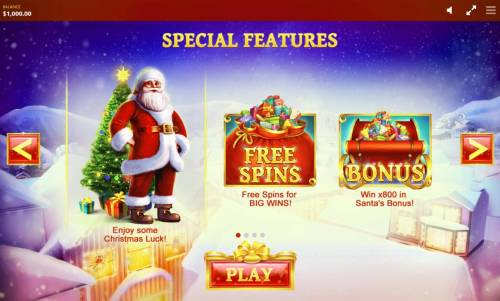 Jingle Bells Review Slots Game features include: Free Spins and Santas Bonus.