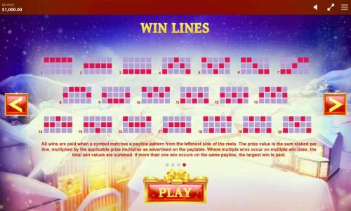 Jingle Bells Review Slots Payline Diagrams 1-20. All wins are paid when a symbol matches a payline pattern from the leftmost side of the reels.