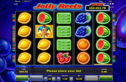 Jolly Reels Review Slots A fruit themed main game board featuring five reels and 50 paylines with a progressive jackpot max payout