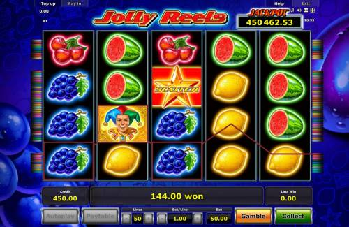 Jolly Reels Review Slots Grape icons and a Jestwr Wild symbol combine forming multiple winning paylines leading to a 144.00 payout.
