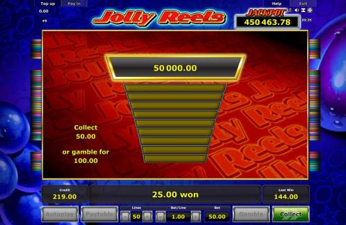 Jolly Reels Review Slots Gamble Feature Game Board - Available after every winning spin.