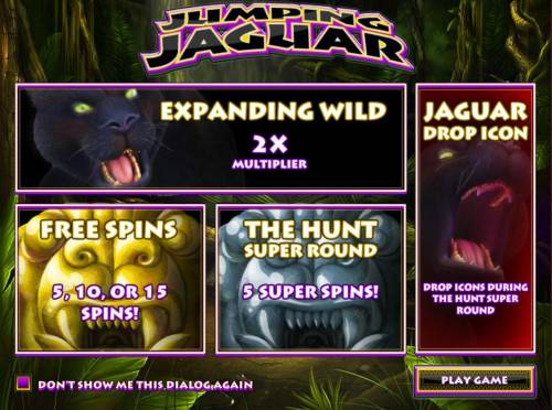 Jumping Jaguar Review Slots Game features include: Expanding Wilds, Free Spins, The Hunt Super Round and Jaguar Drop Icons