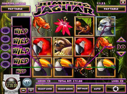 Jumping Jaguar Review Slots Stacked wild symbol on reel 1