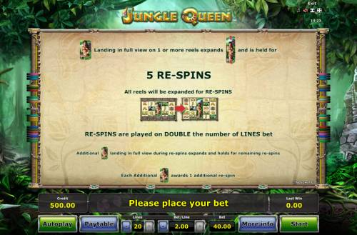 Jungle Queen Review Slots Re-Spins Rules