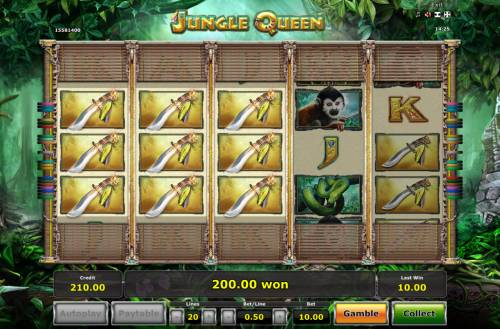Jungle Queen Review Slots Multiple winning paylines triggers a big win