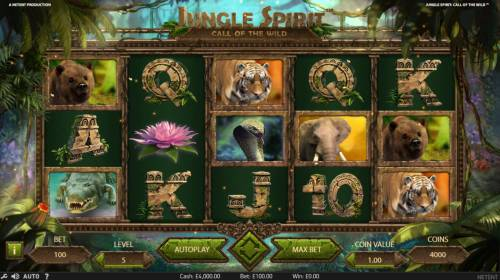 Jungle Spirit Call of the Wild Review Slots Main game board featuring five reels and 243 winning ways with a $15,000 max payout.