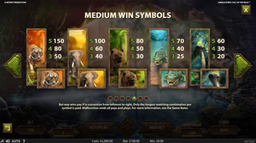 Jungle Spirit Call of the Wild Review Slots Medium Value Slot Game  Symbols Paytable.