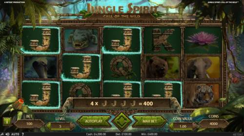 Jungle Spirit Call of the Wild Review Slots A winning combination of 4x Jacks triggers a 400 coin jackpot windfall.