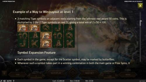 Jungle Spirit Call of the Wild Review Slots Example of a Way to Win payout at Level 1