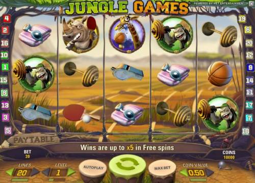 Jungle Games Review Slots main game board featurng five reels and twenty paylines. wins are up to x5 in free spins