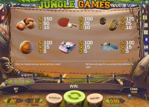 Jungle Games Review Slots slot game low symbols paytable