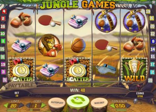 Jungle Games Review Slots pair of scatter symbols pays out 2x your line bet