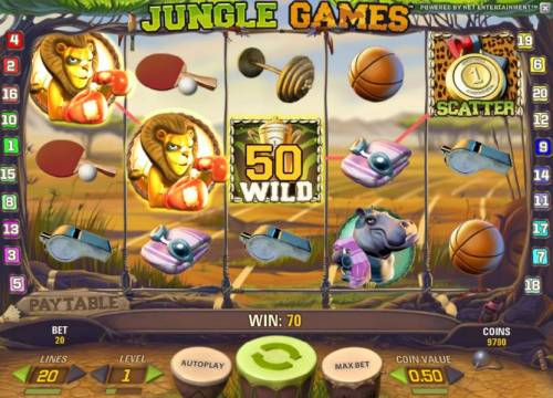 Jungle Games Review Slots multile winning paylines triggers a 70 coin payout