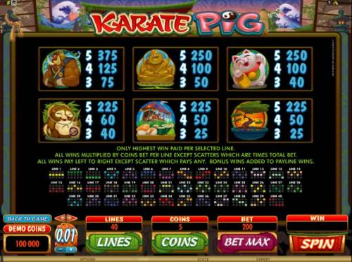 Karate Pig Review Slots paytable and 40 pay line diagrams