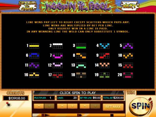 Keep'N It Reel Review Slots Payline Diagrams 1-20 Line wins pay left to right except scatters which pays any.