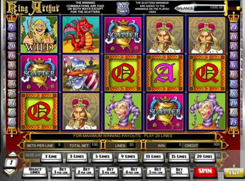 King Arthur Review Slots Main game board featuring three reels and 25 paylines with a $10,000 max payout.