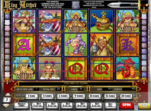 King Arthur Review Slots Multiple winning paylines triggers a big win!