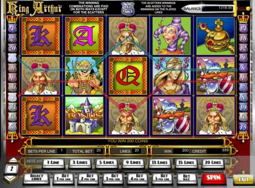 King Arthur Review Slots A 200 coin win triggered by a pair of paylines