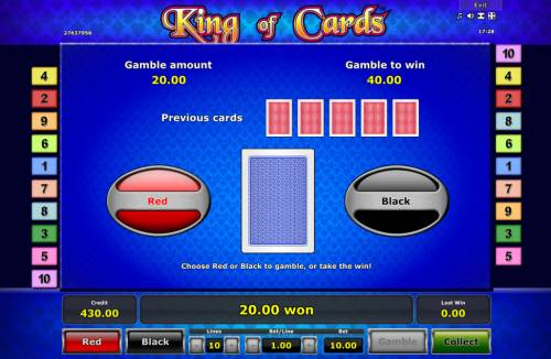 King of Cards Review Slots Red or Black Gamble feature