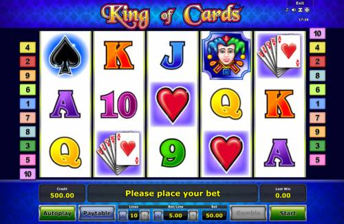 King of Cards Review Slots Main Game Board