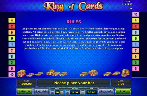 King of Cards Review Slots General Game Rules