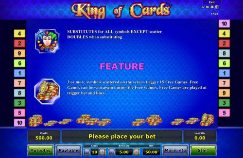 King of Cards Review Slots Wild and Scatter Symbol Rules