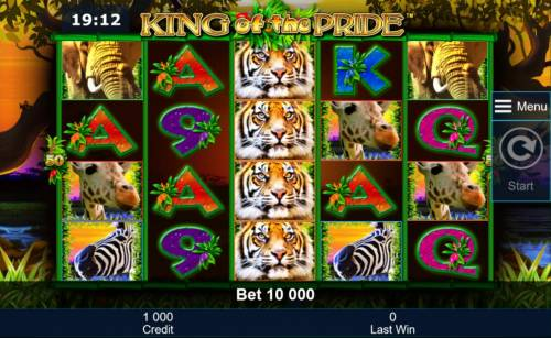 King of the Pride Review Slots A safari themed main game board featuring five reels and 50 paylines with a $200,000 max payout