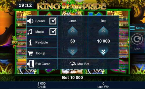 King of the Pride Review Slots Click on the side menu button to adjust the lines or coin value.