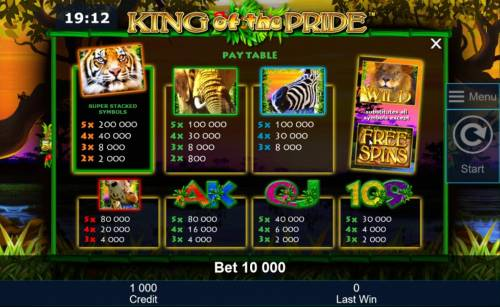King of the Pride Review Slots Slot game symbols paytable featuring wild animal inspired icons.