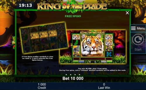 King of the Pride Review Slots Three free spins scatter symbols in view on reels 2, 3 and 4 awards the Free Spins Bonus.