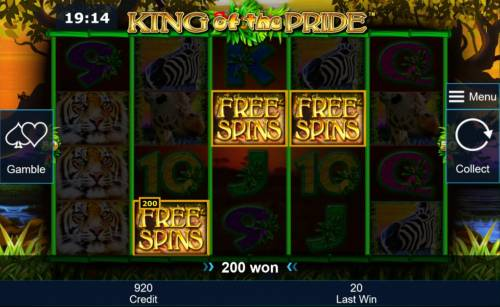 King of the Pride Review Slots Three Free Spins scatter symbols triggers a 200 coin payout and awards Free Games Bonus.