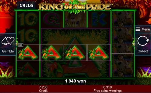 King of the Pride Review Slots Multiple winning paylines triggers a 1940 coin big win during the free games feature!
