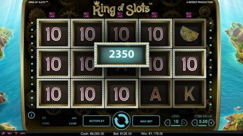 King of Slots Review Slots The Sticky Win feature triggeres a 2,350 coin big win.