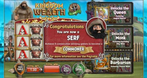 Kingdom of Wealth Review Slots Achieve 5 consecutive wiining games to become a commoner.