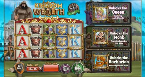 Kingdom of Wealth Review Slots Main game board featuring five reels and 30 paylines with a $500,000 max payout