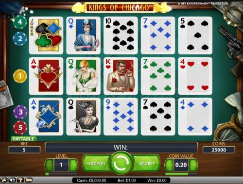 Kings of Chicago Review Slots main gaming table featuring 5 paylines