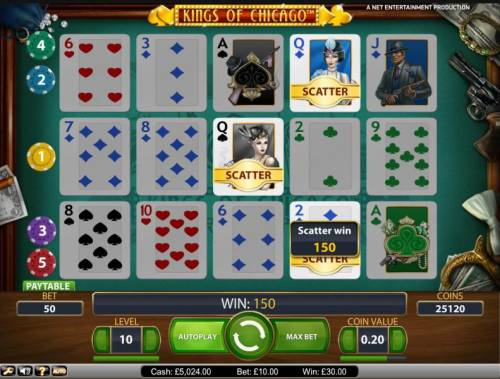 Kings of Chicago Review Slots Scatter bonus feature triggered