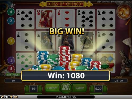 Kings of Chicago Review Slots Bonus feature big win 1080 coin jackpot