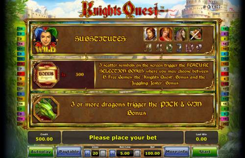 Knights Quest Review Slots Wild and Scatter Symbol Rules